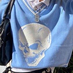 Striped Skulls Pattern Oversize Blue Sweater Women Autumn 2020 Streetwear E-Girl V Neck Pullover Y2K Tops Knitwear female jumper