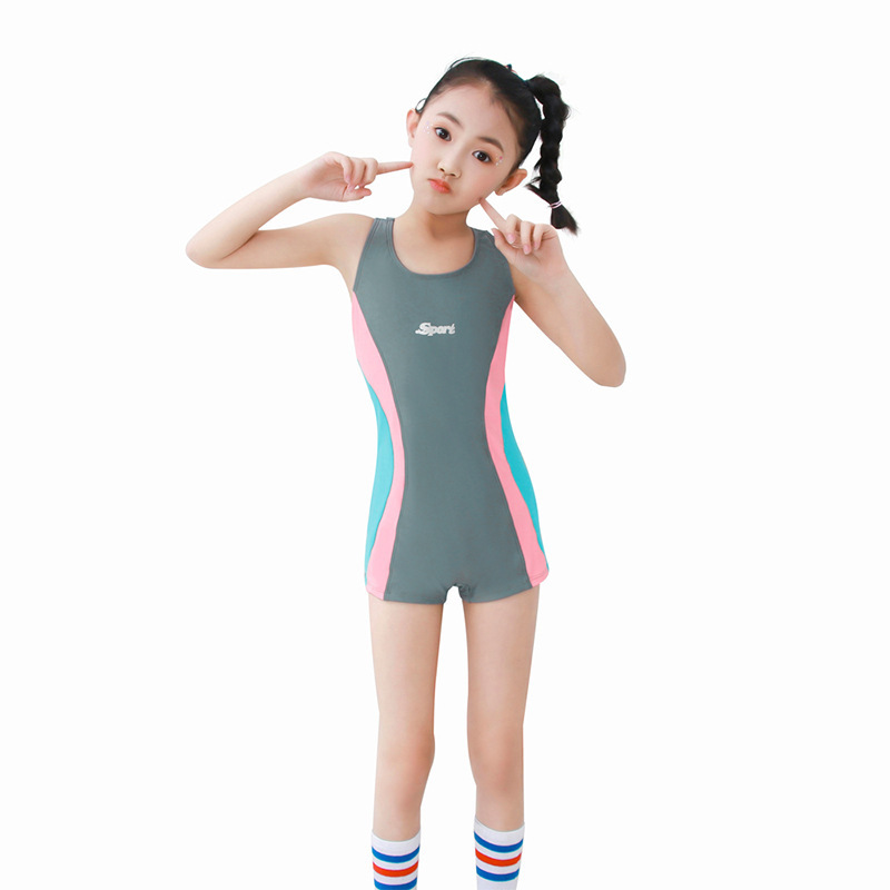 2019 New Style Middle And Large Girls One-piece 5 Pants U-Neck Boxer Learning Training Tour Bathing Suit Girls' Swimsuit