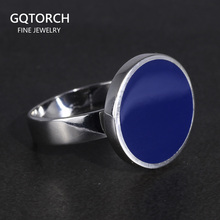 Genuine Solid 925 Sterling Silver Rings Cool Simple Flat Round Rings Turkish Blue Color Gel Minimalist Wedding Jewelry For Men