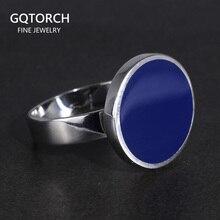 Véritable solide 925 en argent Sterling anneaux Cool Simple plat rond anneaux turc bleu couleur Gel minimaliste bijoux de mariage pour hommes