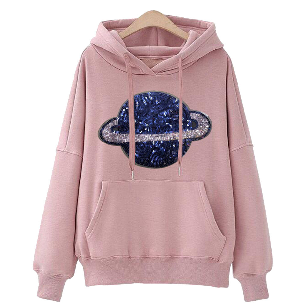 Jaycosin Fashion Autumn Women Loose Planet Hoodie Pocket Sweatshirt Stylish Long Sleeve Comfortable Casual Pullover Top 107#10