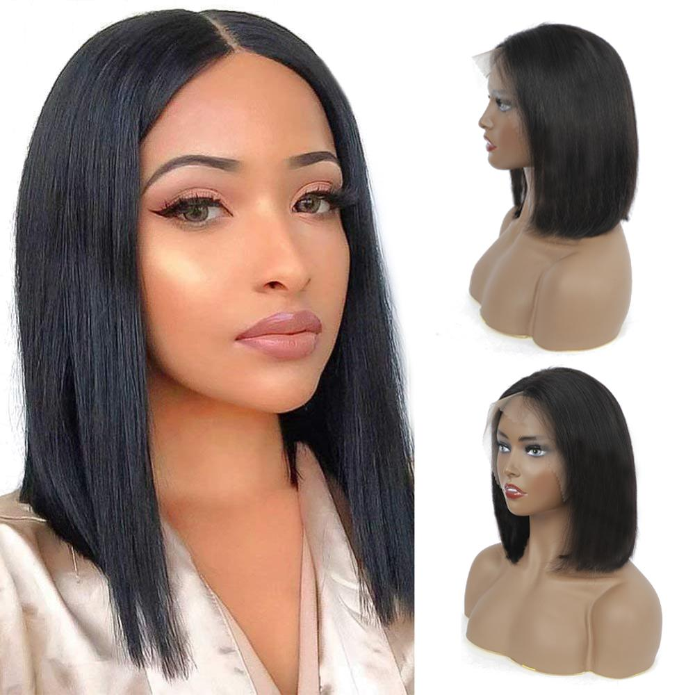 12 Inches 13x4 Lace Frontal Bob Wigs  Straight  Wig Natural Color Closure lace Part Wigs  6