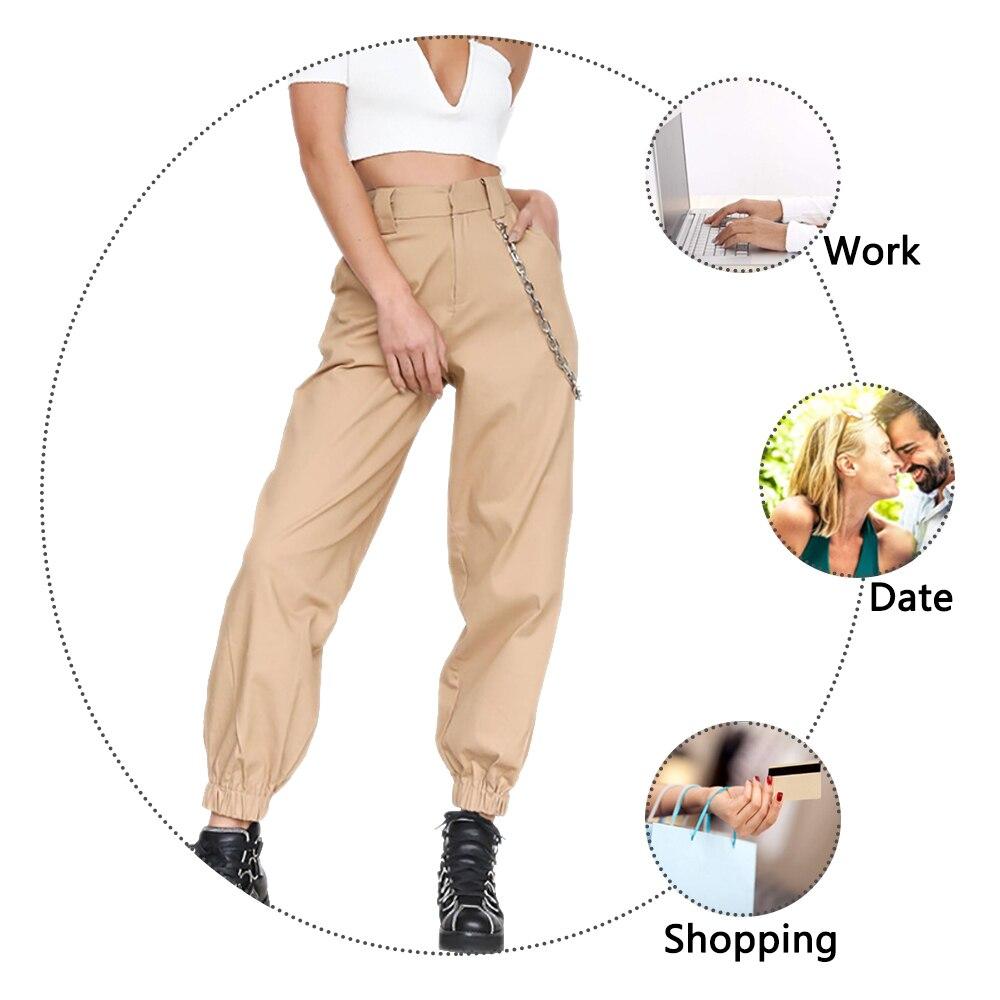 PUIMENTIUA 19 Autumn vintage chain black cargo pants women high waist pants joggers baggy trousers women streetwear plus size 6