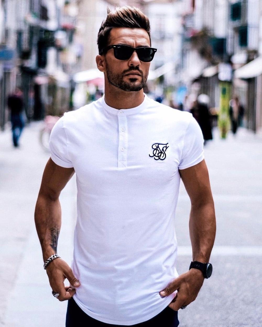 New 2019 Men Brand Fashion Summer Kanye West Sik Silk Mens Casual Hip Hop Irregular Cut Button Short Sleeved T-shirt Black White