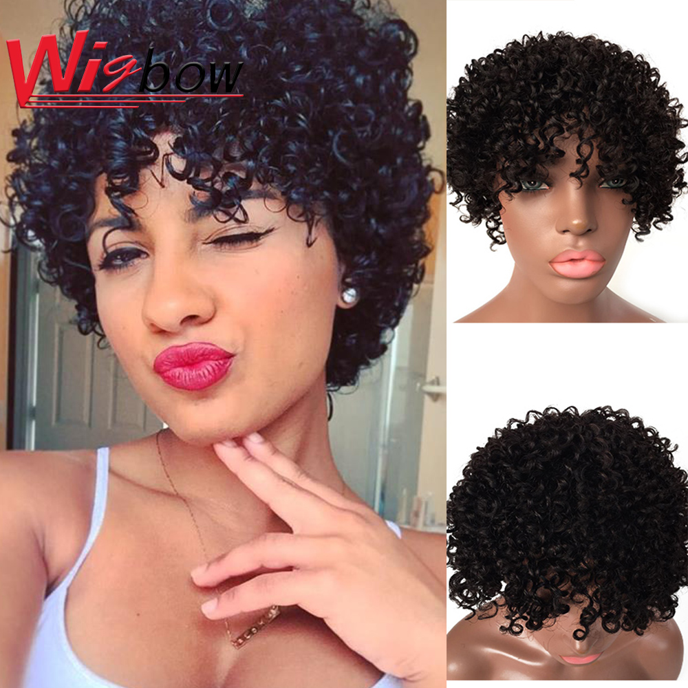 Cheap Short Kinky Curly Wig Human Hair Colored Red Blonde Black Wigs Short Curly Human Hair Wig With Bangs For Women