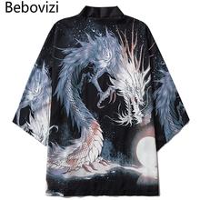 Bebovizi 2020 chiński styl smok Anime Kimono Streetwear mężczyźni kobiety sweter japoński czarny szata kobieta lato tokio odzież tanie tanio Poliester Odzież azji i pacyfiku wyspy Trzy czwarte Tradycyjny odzieży