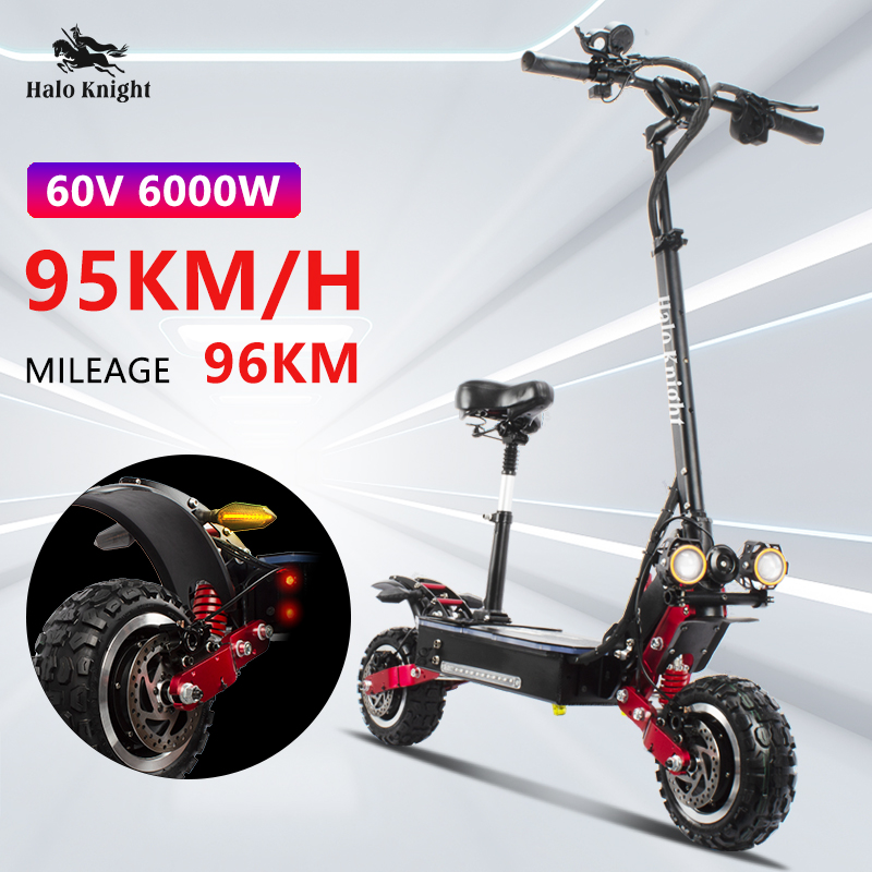 Halo Knight 60V 6000W Adult Electric Scooter Dual Drive Off Road With Panasonic Battery E Scooter Motorcycle Hydraulic Brake