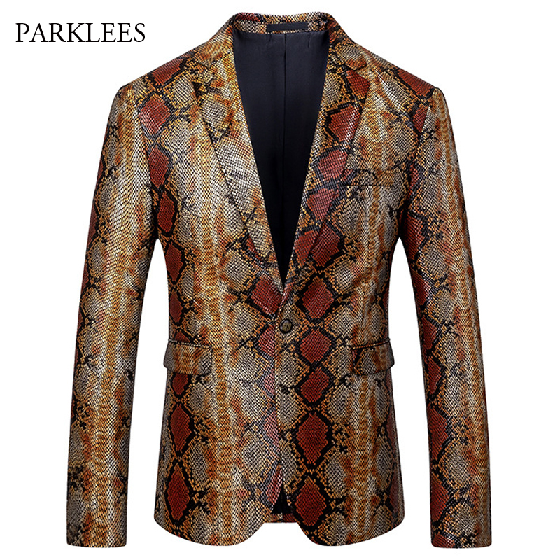 Luxury Snake Pattern Blazer Men 2019 Single Breasted Mens Suit Jacket Coat Casual Slim Fit Party Club Stage Chaqueta Hombre 5XL