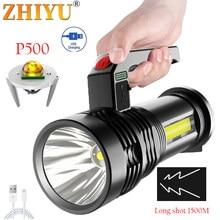 Portátil ultra-brilhante lâmpada de mão poderosa cob luz lateral holofote usb recarregável ao ar livre holofote luz do agregado familiar