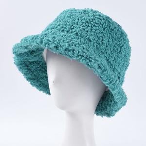 Image 2 - USPOP Winter frauen eimer hüte weiblichen candy farbe lamm haar eimer hüte süße dicke warme hüte
