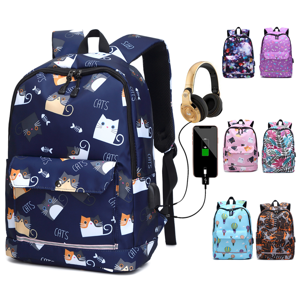 USB Charging Reflective School Bags For Teenage Girls Waterproof High School Backpack Women Student Book Bag Travel Backpacks