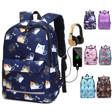 USB Charging Reflective School Bags for Teenage Girls Waterproof High School Backpack Women Student Book Bag Travel Backpacks(China)