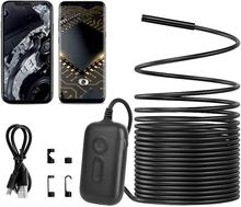 Wireless Endoscope IP68 Waterproof WiFi Borescope HD 5MP Semi-Rigid Flexible Inspection Camera Snake Camera for Android ios