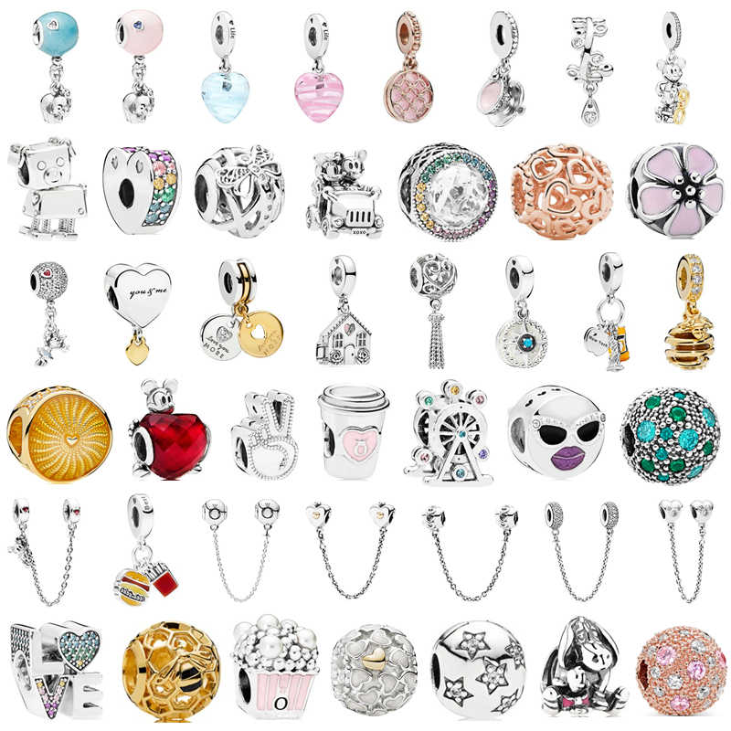 Fit Original Pandora Charms Silver Bracelet Trinket Jewelry Women Simple Style Safety chain Rainbow Windmill Mouse Clip DIY Bead