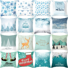 Merry Christmas Pillow Case Snow Throw Pillows Home Decorative For Living Room Polyester Printed Pillow Cover Nordic Pillowcase