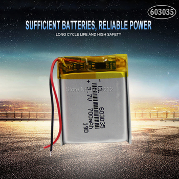 1pc 700mAh 3.7V 603035 Lithium Polymer Rechargeable Battery For mp3 mp4 mp5 Tachograph Car DVR Bluetooth Earphone GPS image