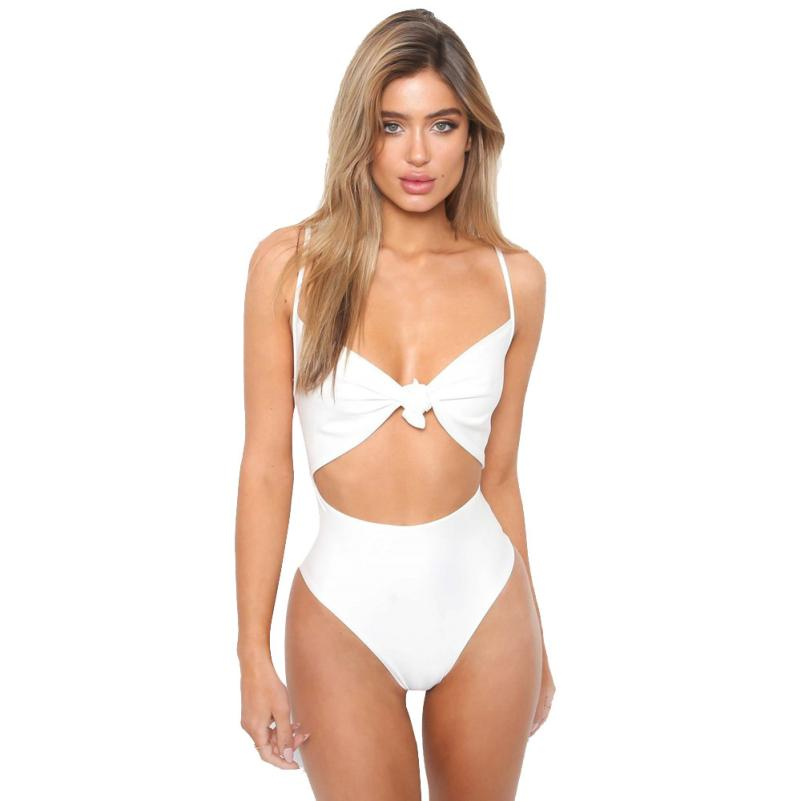 Women Swimming Suits Summer 2020 Swimsuit Solid Bowknot Bra Swimwear Beachwear Bathing Suit Summer Beach Dress 91231