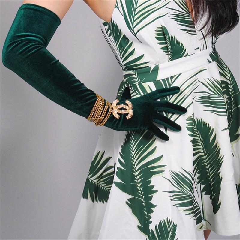 Velvet Gloves 60cm Long Style Green Velour High Elastic Gold Velvet Woman Gloves Touchscreen Mobliephone For Dance Party WSR01