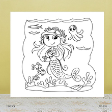 AZSG Cute mermaid Clear Stamps For DIY Scrapbooking/Card Making/Album Decorative Rubber Stamp Crafts