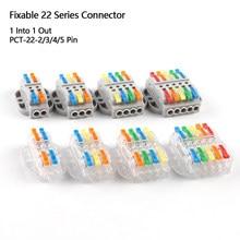 Tipo fixo rápido do conector 222 do fio da extremidade bloco terminal compacto universal 1 em 1 para fora 2/3/4/5pin conector elétrico