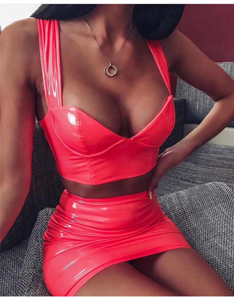 Image 3 - Ellolace PU Women Sets Deep V Tanks and Skirt Set Leather Suit Sexy Party Club Wear Female Streetwear Two pieces sets Clothing-in Women's Sets from Women's Clothing