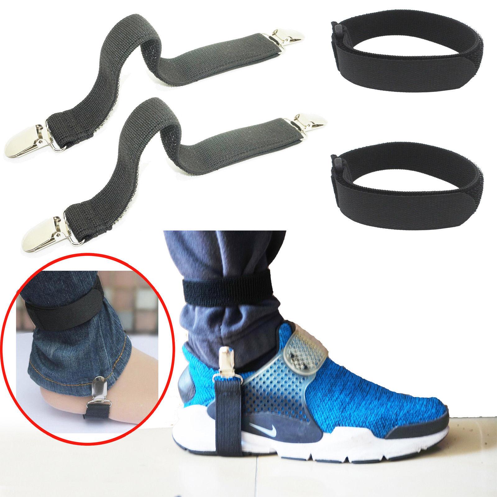 US 4PCS Motorcycle Bike Stirrup Pant Clips Leg Boot Elastic Adjustable Straps