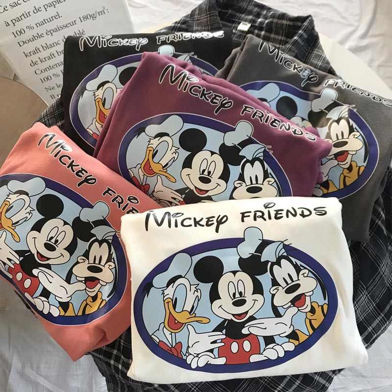 Disney 2020 camiseta de desenho feminina, mickey, minnie mouse, curta, verão, regular, camiseta, gola redonda, branco, tops, camiseta solta mulher