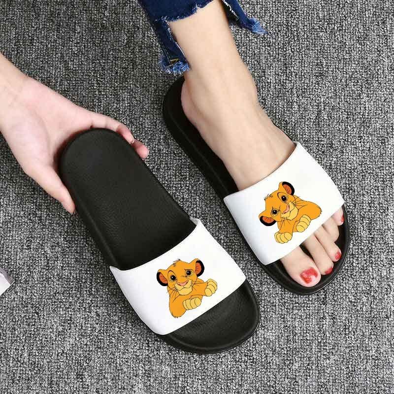 Women Slippers Cartoon Lion King Pattern Pu Leather Beach Slides Home Slippers Slip On Sandals Women Shoes Flip Flops