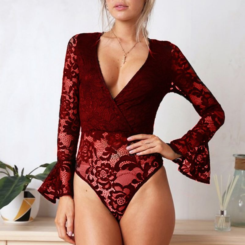 1PCS Spring Autumn Solid Lace Sexy Size New V-neck Long-sleeved Plus Jumpsuit Bodysuits