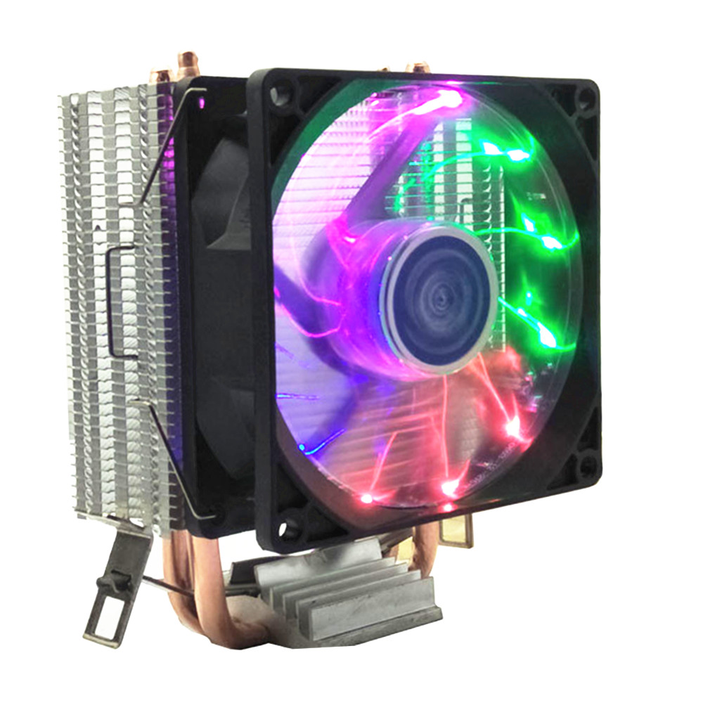 90mm 3Pin refroidisseur de processeur radiateur silencieux ventilateurs pour Intel LGA775/1156/1155/1151/1366/2011/pour AMD 2 caloduc radiateur ventilateur cpu