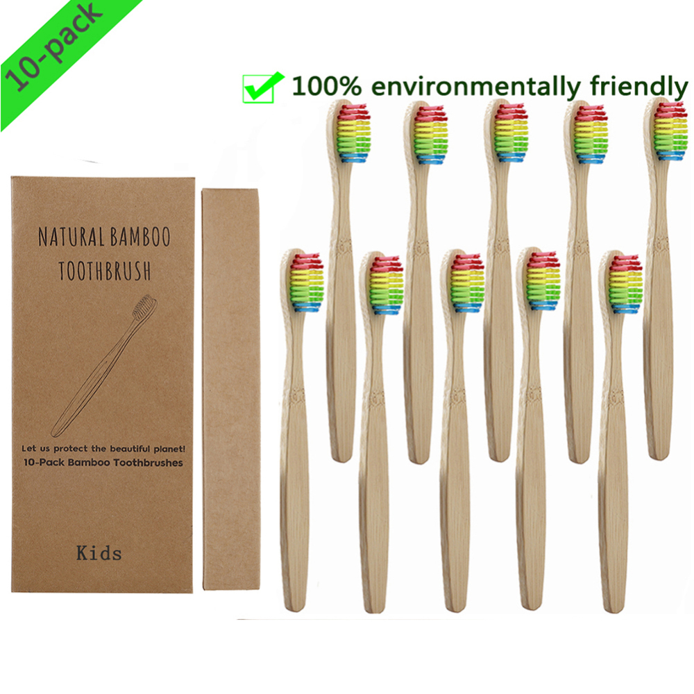 10pcs Soft Bristles Children Bamboo ToothBrush Toothbrushes Eco Friendly Oral Care Travel Tooth Brush For Kids