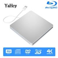 YAHEY External Drive USB 3.0 Bluray Burner BD RE CD/DVD RW Writer Play 3D 4K Blu ray Disc For Laptops 2019 Notebook windows