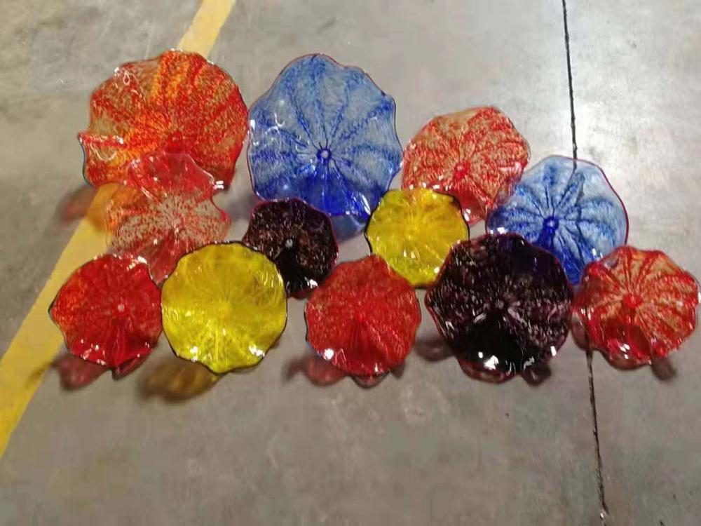 Modern Hand Made Blown Glass Flower Plates Hand Blown Glass Flower Wall Art Plates