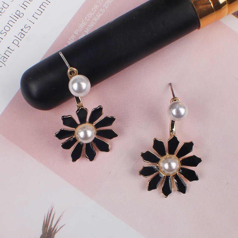 โบฮีเมียมุกเทียม Sun ต่างหูดอกไม้สำหรับสตรี Statement เรขาคณิตโลหะยาวต่างหู Dangle สีดำสีเหลืองสีชมพู