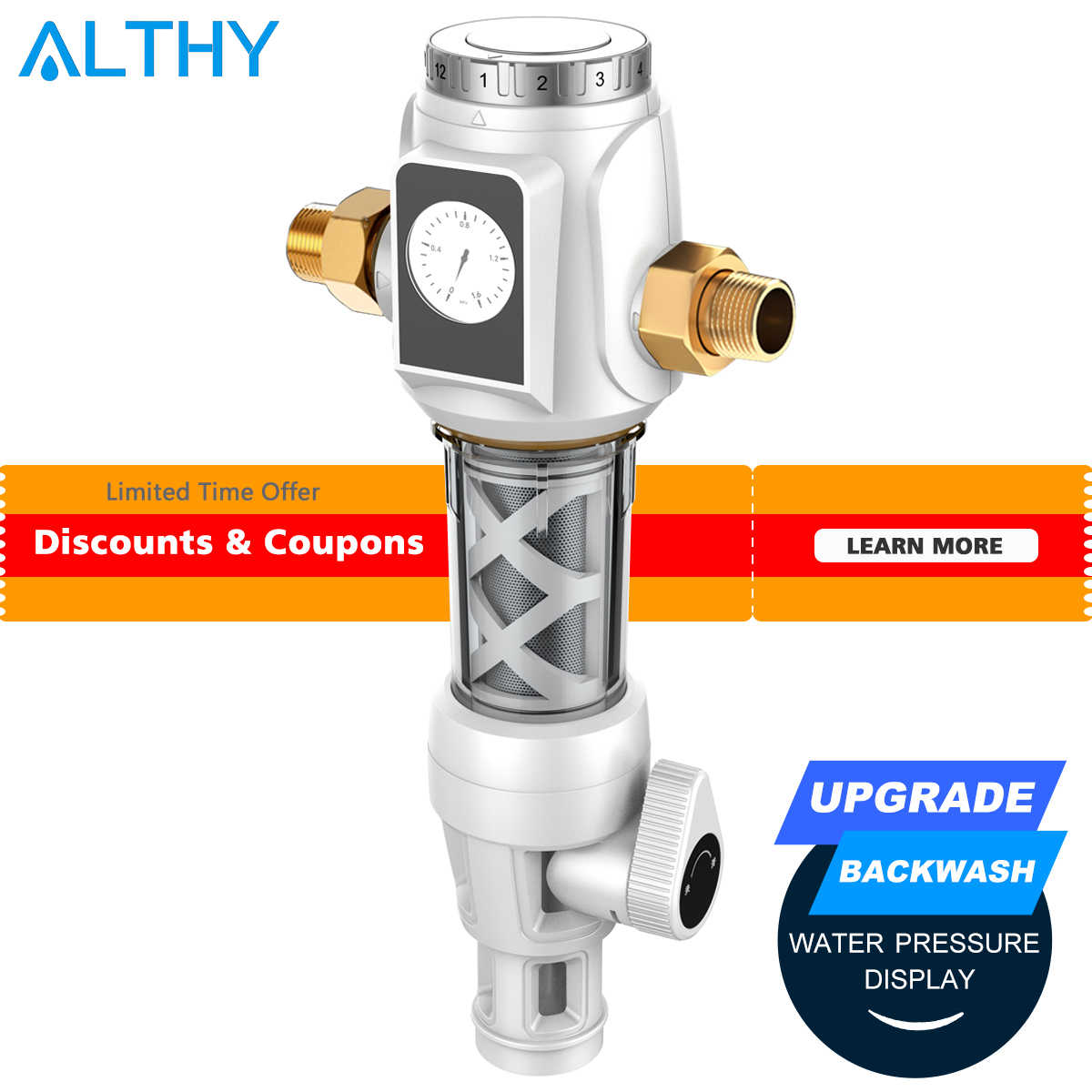 Althy Central Pre Filter Seluruh Rumah-Filter Air Filter Purifier Siphon Backwash 3T 40μm Filter Ganda Tekanan alat Ukur