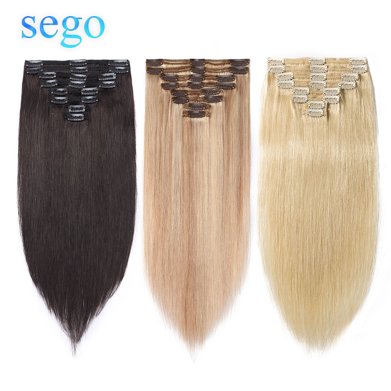 SEGO 115g-160g Brazilian NON-Remy Double Weft Clip In Human Hair Extensions Straight 100% Human Hair 8pcs/set 10