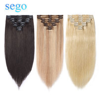 SEGO 115g 160g Brazilian NON Remy Double Weft Clip In Human Hair Extensions Straight 100% Human Hair 8pcs/set 10 24 Blonde