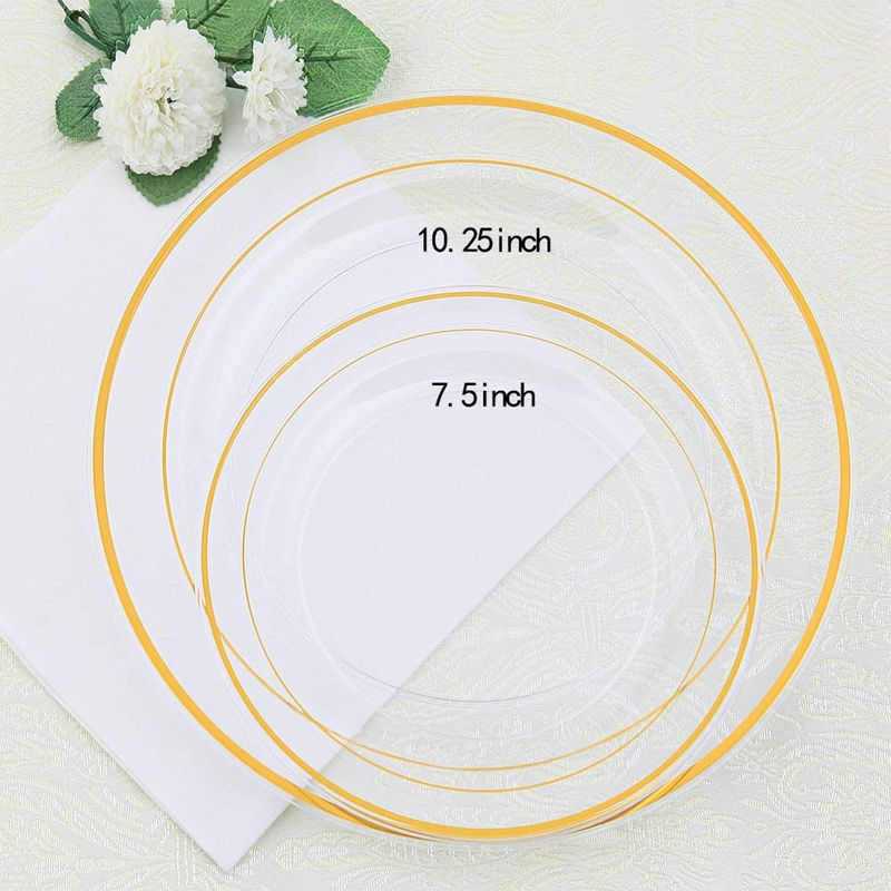 wedding : New Gold Plastic Plates 60 Pieces Disposable Wedding Plates Plastic Party Plates Includes  30 Dinner Plates 10 25 Inch and 30