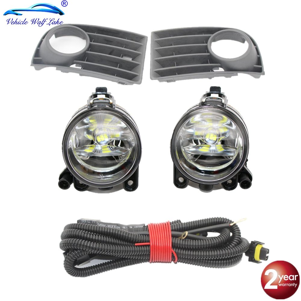 2pcs fog lamp For VW Golf <font><b>5</b></font> A5 MK5 <font><b>2004</b></font> 2005 2006 2007 2008 2009 Car Front LED Fog Light Fog Light With Grille And Wire image