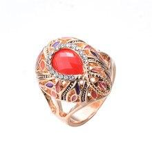 Anillos grandes de resina de ópalos naranja de moda para mujer anillo de joyería antiguo anillo de aceite de esmalte de oro rosa para mujer anillos de boda para mujer