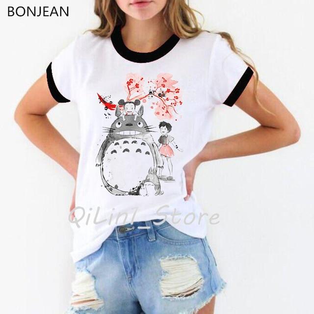 Drôle Totoro t-shirts femmes Miyazaki Hayao Harajuku kawaii tumblr vêtements hauts femme t-shirt femme Anime esprit loin t-shirt