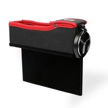 E-FOUR Universal Car Seat Side Gap Filler Seat Crevice Slit Pockets Seat Side Drop Catcher Tray PU Leather Storage Box Organizer недорого