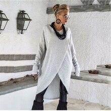Hot Sale 2019 Autumn Ladies Round Neck Irregular Loose Dress Women Long Sleeve Casual Solid Knee-Length Knitting Dress S-3XL