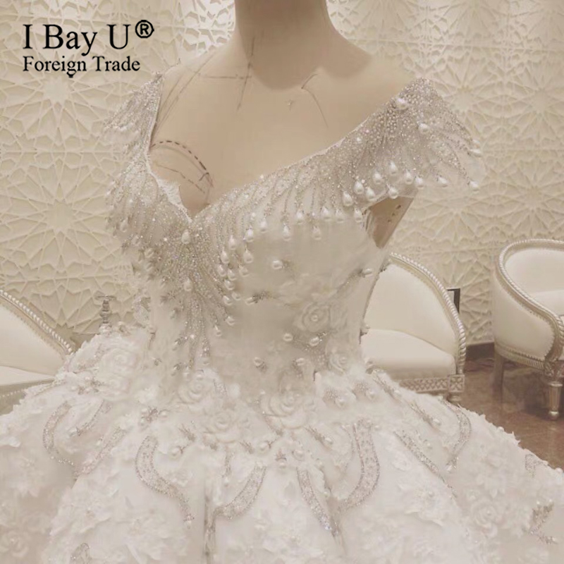 Beaded Pearl Tassel Luxury Wedding Dress 2020 Crystal Arabic Bridal Dress Vintage Robe De Mariee