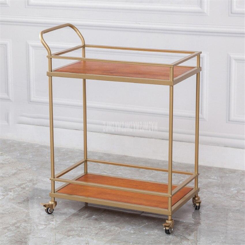 Hôtel salle à manger chariot avec roue Double couche fer cadre Table vin eau chariot Service voiture Snack Dessert chariot hôtel meubles - 2