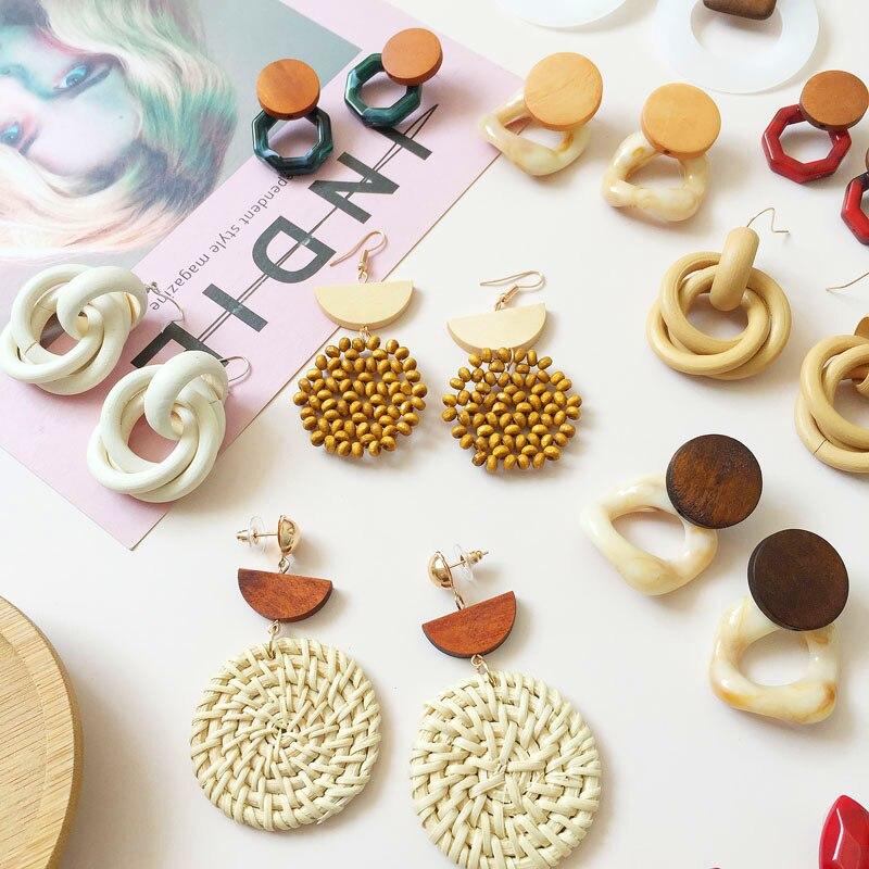 Ztech New Bohemia Handmade Geometric Rattan Straw Weave Knit Vine Wood Drop Earrings Women Vintage Korea Earring Party Jewelry