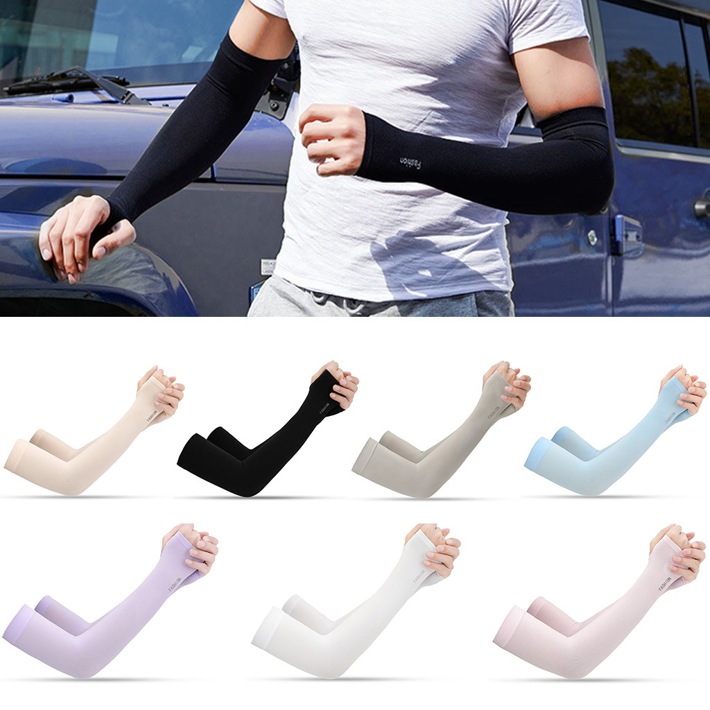 Portable 2PCS Summer Ice Silk Cooling Sunscreen Sleeve UV Protection Arm Shade