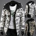 Мужская Зимняя Толстая теплая куртка, меховая ветровка, куртка, Осень-зима, Теплая мужская камуфляжная куртка с карманами и принтом, пальто ...