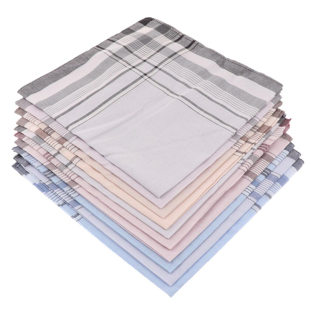 Lot 10 Pcs Men/'s Handkerchief Striped 100/% Cotton Suit Pocket Square Hankies