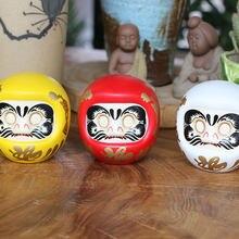 Caja de dinero de cerámica japonesa de 4 pulgadas, muñeco Daruma, gato de la suerte, adorno de fortuna, oficina, 1 ud.